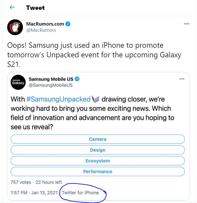 Samsung đăng nội dung trên twitter bằng iPhone