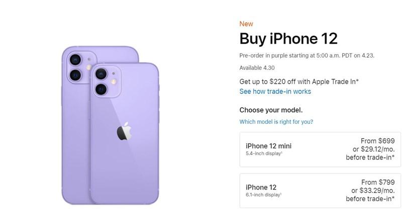 giá bán iPhone 12 tím