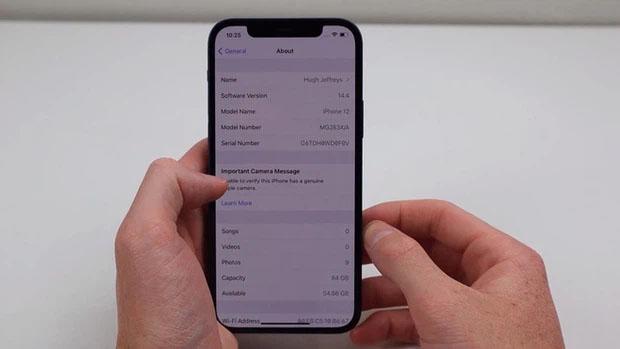 xác minh iphone bị thay thế camera trong ứng dụng cài đặt