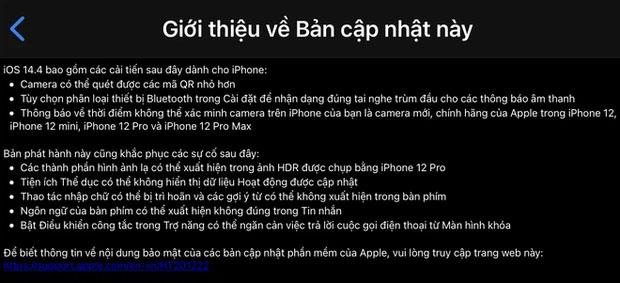 Bản cập nhập iOS 14.4 xác minh việc iPhone bị thay thế camera hay chưa